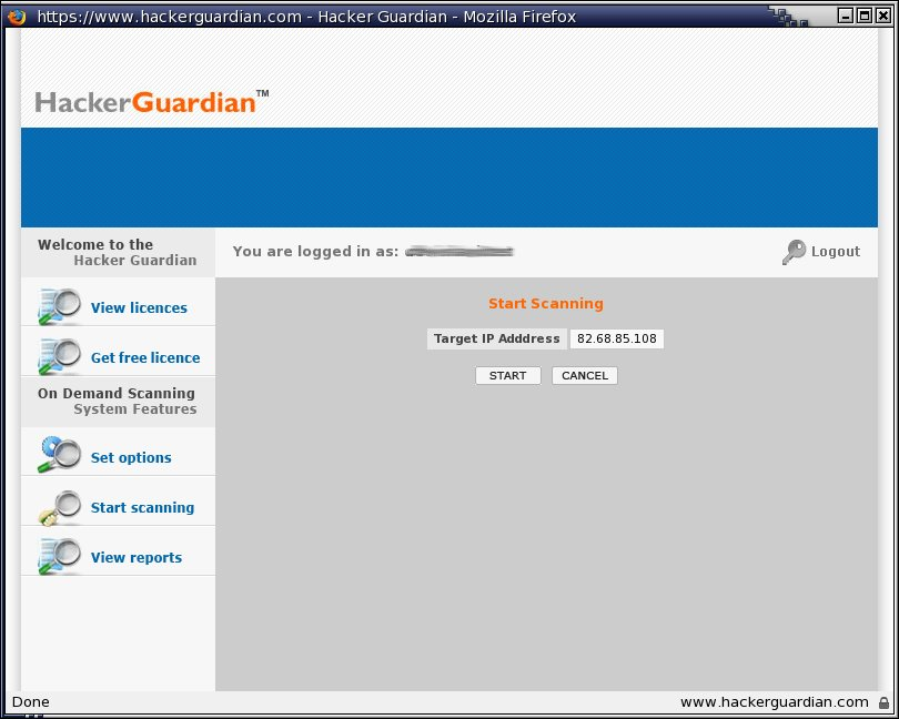 Vulns Hackerguardian Startscanning