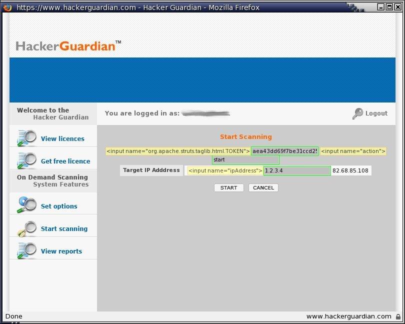 Vulns Hackerguardian Startscanningalter