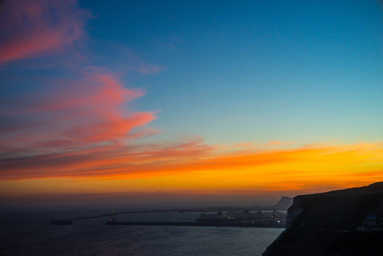 Sunset over Dover Port
