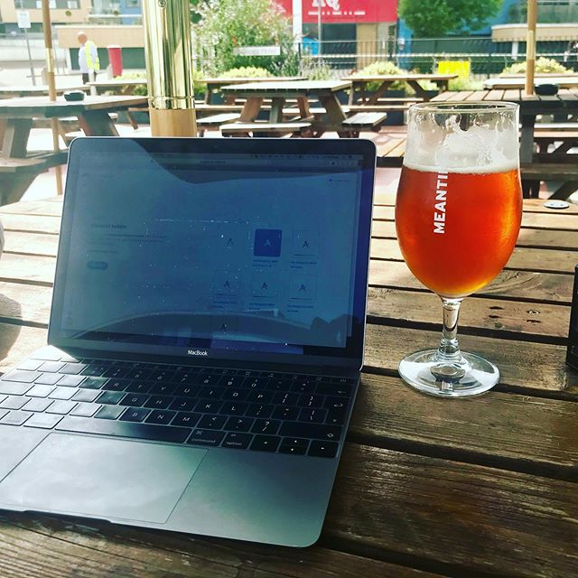Early day out of the office due to board meeting, so taking advantage of the nice weather to work at the pub with the sun shining