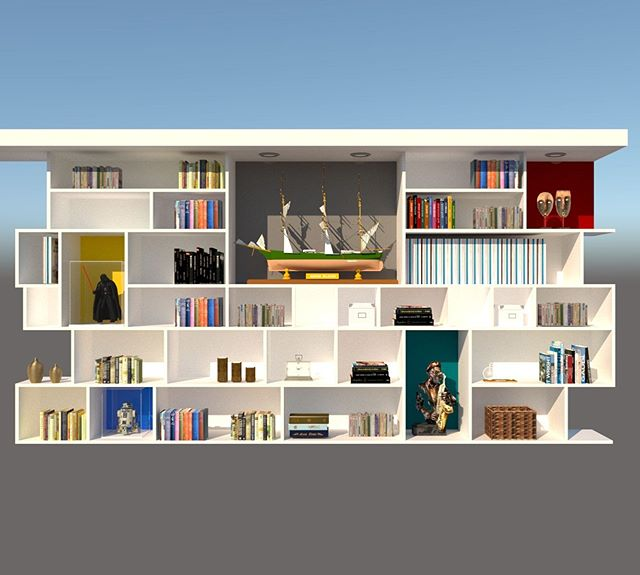 Planning the new bookshelves for the office, think we nailed the configuration